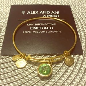 ✨NEW✨ Alex and Ani May Emerald Bracelet GOLD